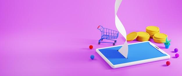 Render 3d de un teléfono móvil, monedas de oro y un carrito de compras alrededor sobre fondo púrpura