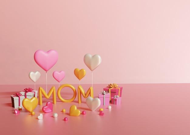 Render 3d de texto de mamá, cajas de regalo y corazones sobre fondo rosa claro