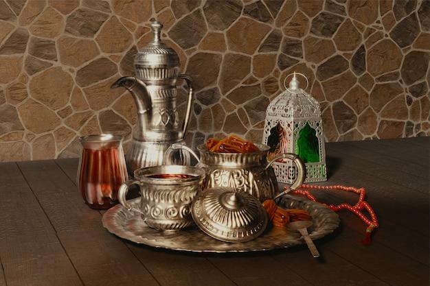 Render 3d de utensilios de plata con tasbih (rosario) y linterna árabe