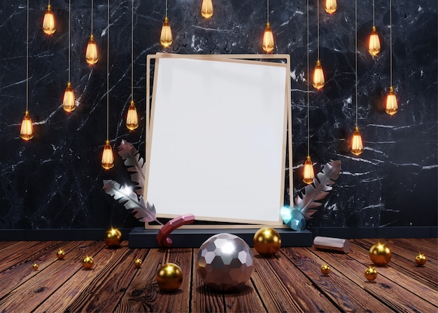Render 3d, vista frontal de lámparas colgantes iluminadas