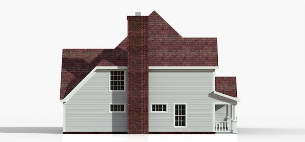 Render de una casa de campo americana clásica. ilustración 3d.