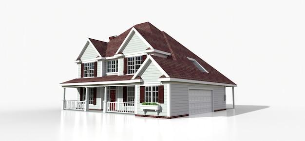 Render de una clásica casa de campo americana