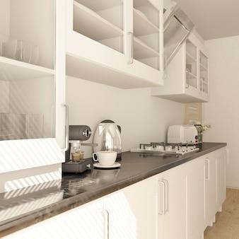 Render de cocina contemporánea 3d