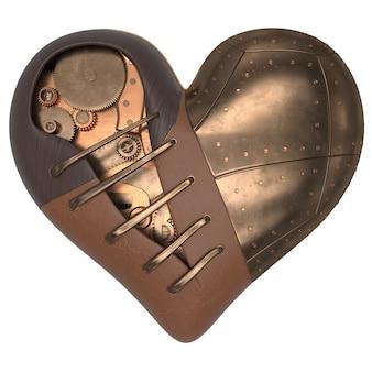Render del corazón 3d estilo steampunk