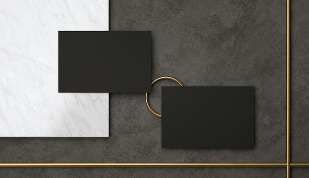 Render presentación de dos elegantes tarjetas de visita negras