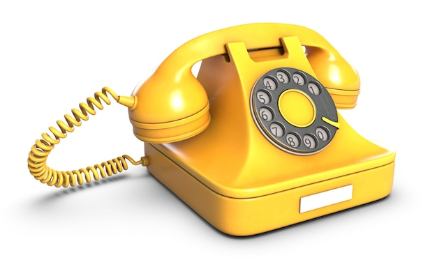 Render de teléfono retro amarillo aislado