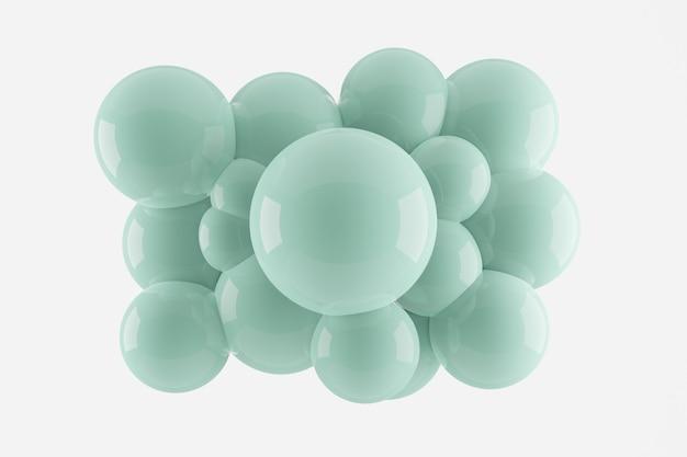 Renderizado 3d acumulación abstracta esferas brillantes