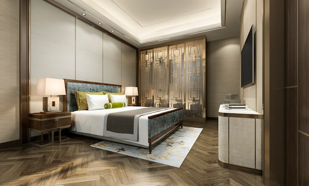 Renderizado 3d de lujo moderno dormitorio en el hotel con armario y vestidor con decoración de estilo chino