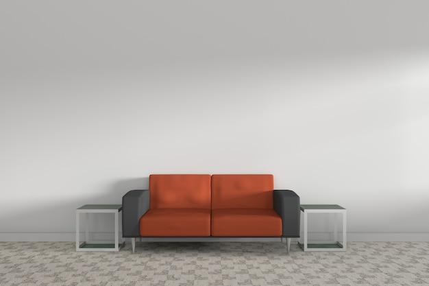 Renderizado 3d sofá naranja en la sala blanca