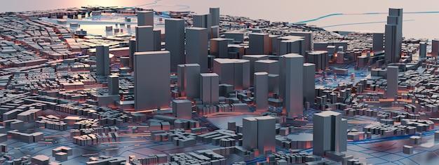 Renderizado 3d vistas de la ciudad de baja poli. conceptos de tecnología urbana.