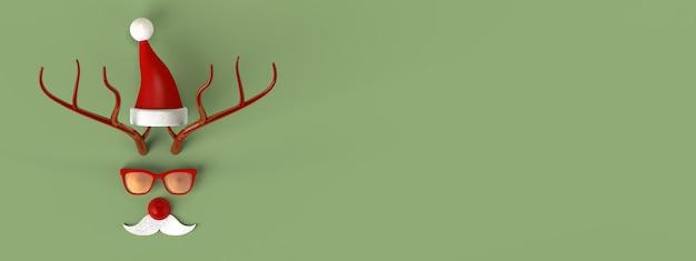 Reno abstracto de juguete de navidad disfrazado de banner de santa claus. copie el espacio. ilustración 3d.