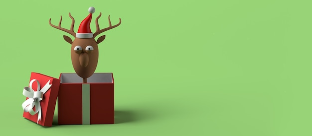Reno de papá noel que sale de la caja de regalo de navidad. copie el espacio. ilustración 3d.