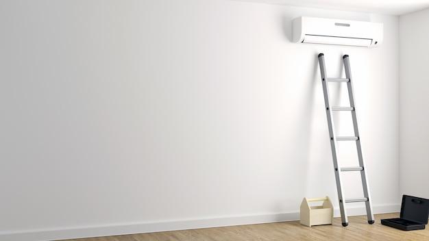 Reparación de aire acondicionado en una pared blanca