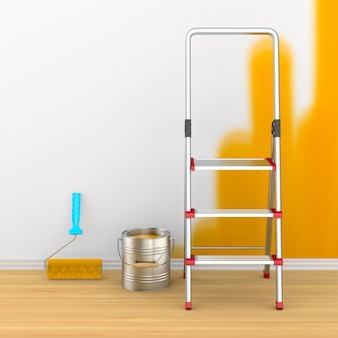Reparación en habitación. pintura de pared. ilustración 3d