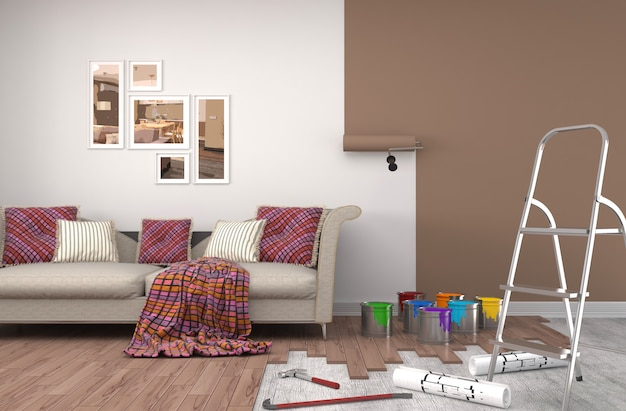Reparacion y pintura de paredes en habitacion