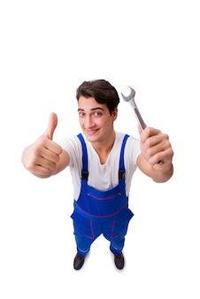 Reparador divertido con las herramientas aisladas en blanco