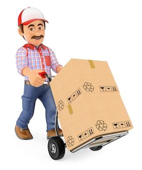 Repartidor de mensajería 3d empujando una carretilla de mano con cajas