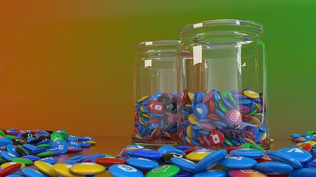 Representación 3d de 2 frascos de vidrio llenos de las píldoras brillantes de la red social más popular sobre fondo de colores