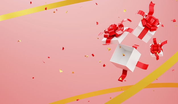 Representación 3d abrir cajas de regalo y cinta de fondo. celebración de navidad y feliz año nuevo.