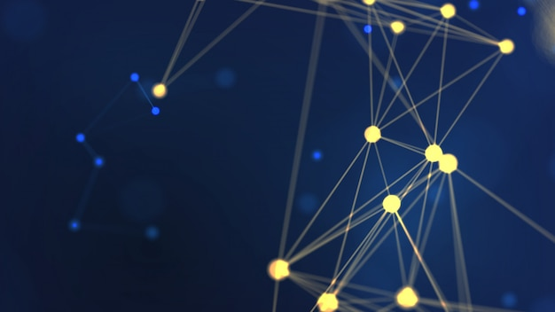 Representación 3d abstracto geometría amarilla volando red de estructura metálica y espacio de punto de conexión sobre fondo azul
