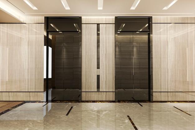Representación 3d de acero inoxidable moderno ascensor ascensor lobby en hotel de negocios con diseño de lujo cerca del corredor