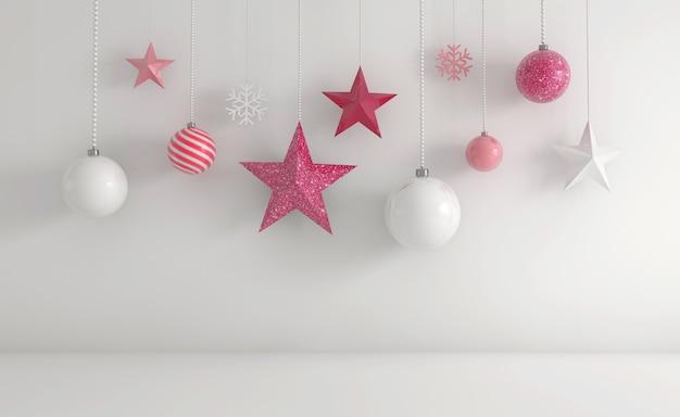 Representación 3d de adornos navideños en blanco y rosa colgando sobre un fondo blanco.