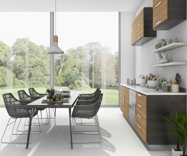 Representación 3d agradable mesa de comedor cerca de la barra de cocina de madera cerca de la vista al jardín