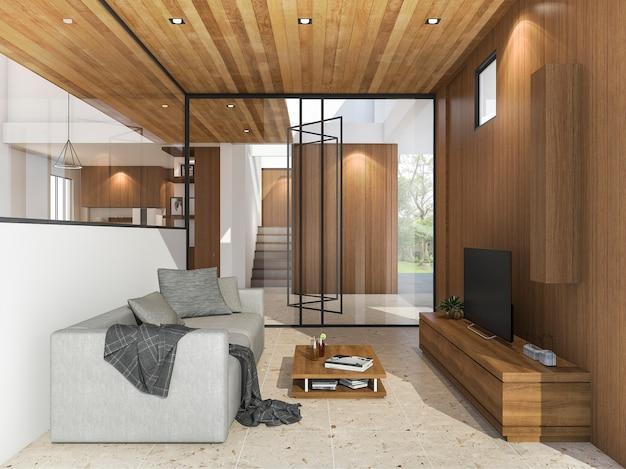 Representación 3d agradable sala de estar con televisión cerca del jardín con luz natural