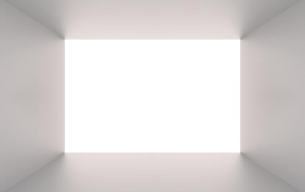 Representación 3d agujero gris simple del túnel de la caja del cubo en el fondo blanco.
