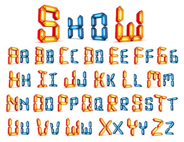 Representación 3d del alfabeto de la luz de neón 3d en el fondo blanco