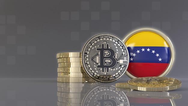 Representación 3d de algunos bitcoins metálicos frente a una insignia con la bandera venezolana