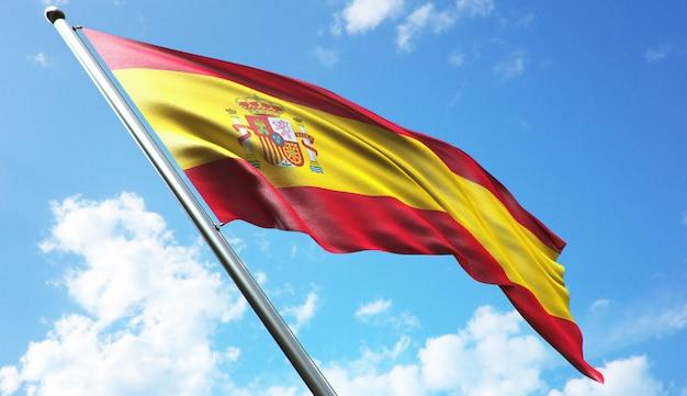 Representación 3d de alta resolución de la ilustración de la bandera de españa con un fondo de cielo azul