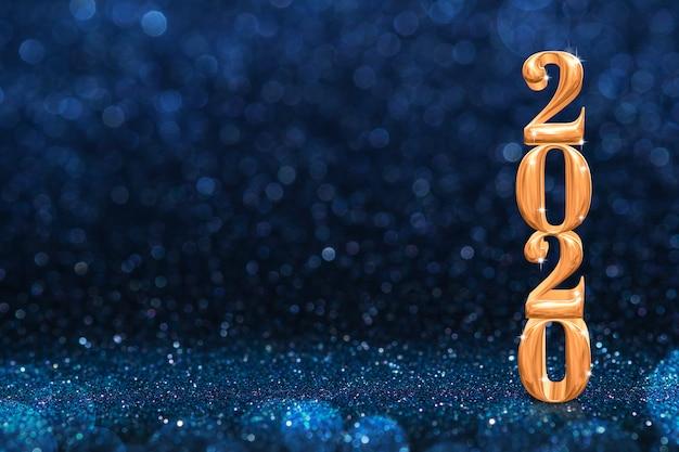 Representación 3d de año nuevo dorado 2020 en brillo azul oscuro abstracto brillante