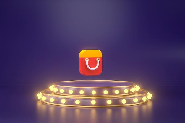 Representación 3d de la aplicación de compras con podio.