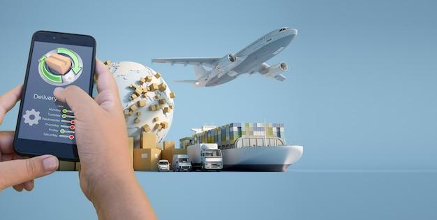 Representación 3d de una aplicación de seguimiento de entrega de un teléfono inteligente con un avión, camión, barco y camioneta en el fondo