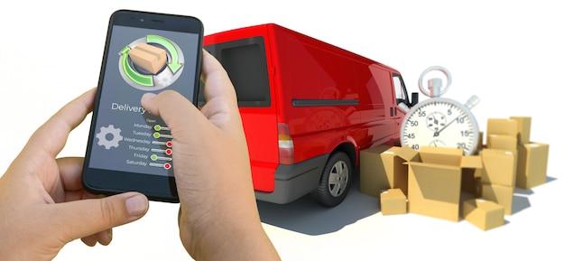 Representación 3d de una aplicación de seguimiento de entrega de teléfonos inteligentes con camiones y mercancías