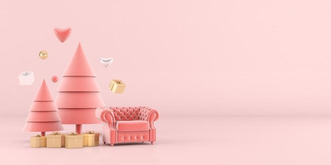 Representación 3d del árbol de navidad con fondo rosa