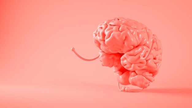 Representación 3d de la atención plena del cerebro rosa