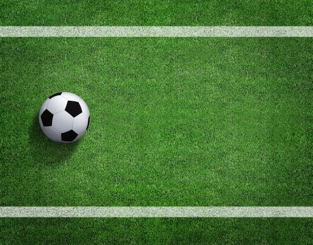 Representación 3d del balón de fútbol con la línea en campo de fútbol.