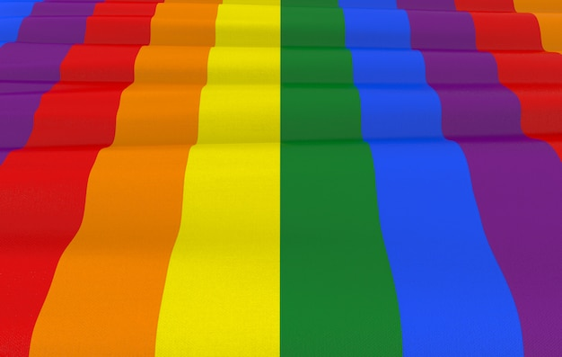 Representación 3d bandera del color del arco iris de lgbt