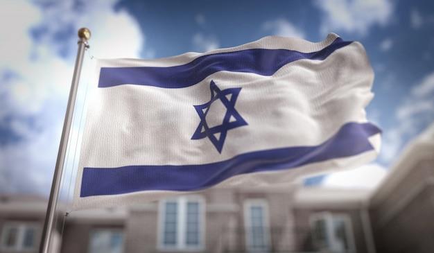 Representación 3d de la bandera de israel en el fondo del edificio del cielo azul