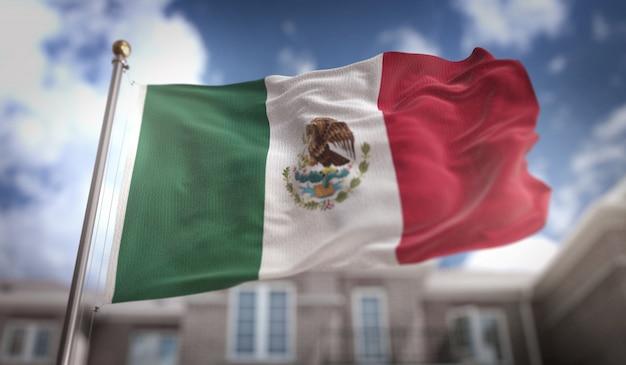 Representación 3d de la bandera de méxico en el fondo del edificio del cielo azul
