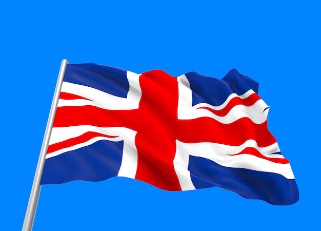 Representación 3d. bandera nacional del reino unido que fluye con viento