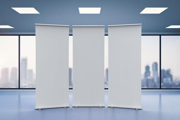 Representación 3d banner enrollable vacío con fondo de oficina