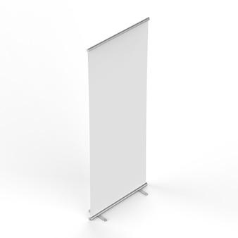 Representación 3d banner enrollable vacío sobre fondo blanco.