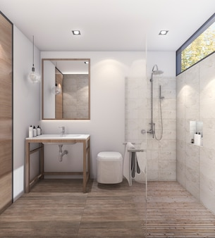 Representación 3d baño de buen tono con buena decoración