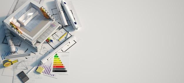 Representación 3d de un baño en construcción sobre planos, formularios de hipotecas y un gráfico de eficiencia energética