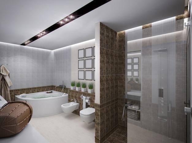 Representación 3d del baño en estilo antiguo.