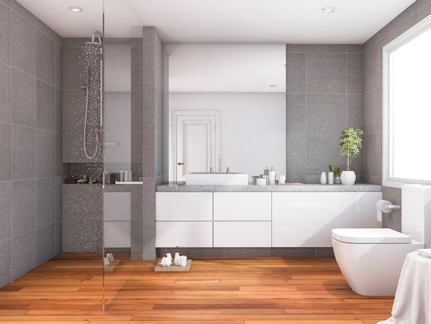 Representación 3d de baño de madera de estilo moderno y tropical cerca de la ventana