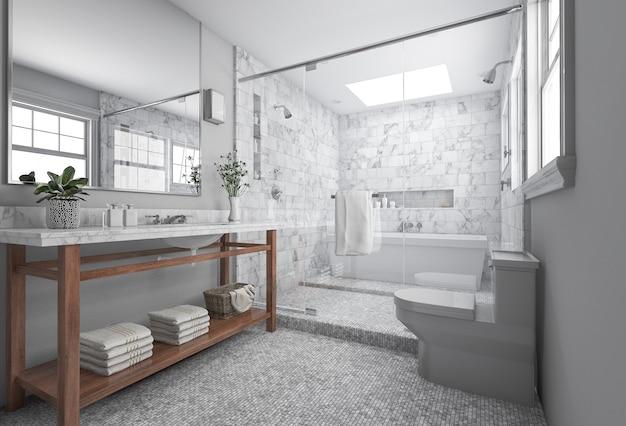Representación 3d baño minimalista moderno con decoración escandinava y bonita vista de la naturaleza desde la ventana